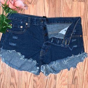 Distressed Blue Denim High-Waisted Shorts